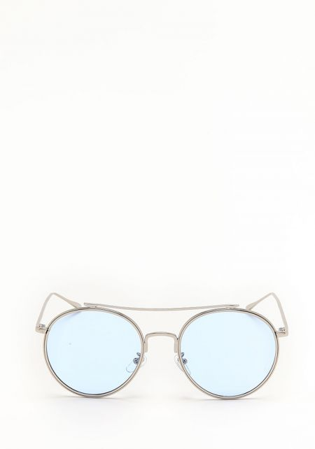 Blue Slim Round Aviator Sunglasses