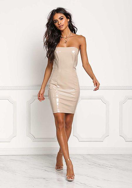Nude Latex Strapless Bodycon Dress