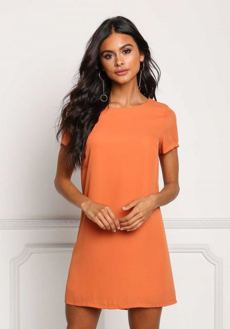 Orange Boxy Shift Dress