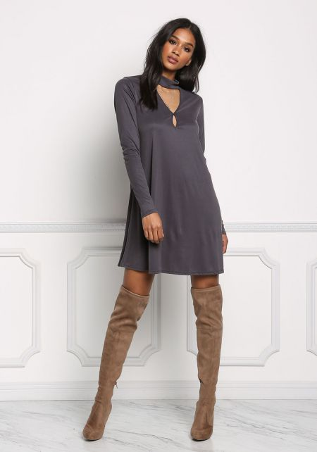 Charcoal Choker Cut Out Shift Dress
