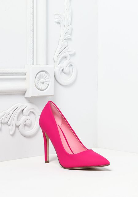 Hot Pink Leatherette Pointed Toe Heels