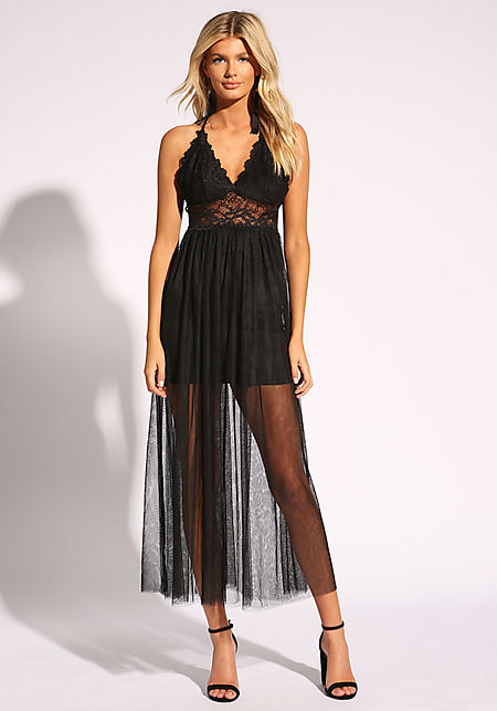 Black Lace Tulle Cross Strap Maxi Dress