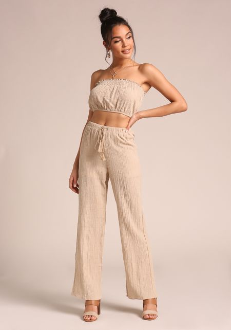 Khaki Drawstring High Rise Pants