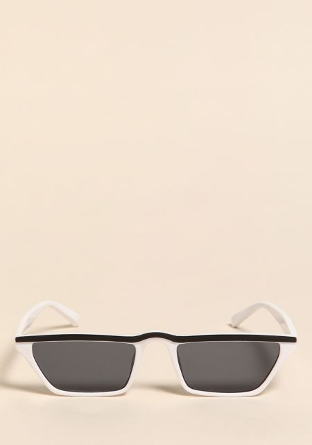 White and Black Striped Rectangular Sunglasses