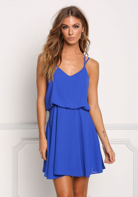 Royal Blue Double Strap Flared Dress