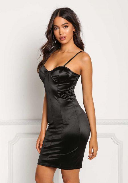 Black Lustrous Satin Bustier Bodycon Dress