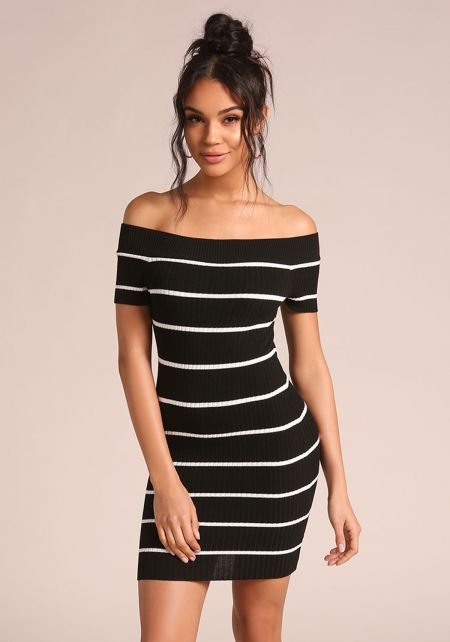 Black Stripe Off Shoulder Bodycon Dress