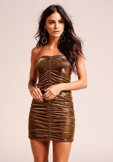 Gold Metallic Ruched Strapless Bodycon Dress