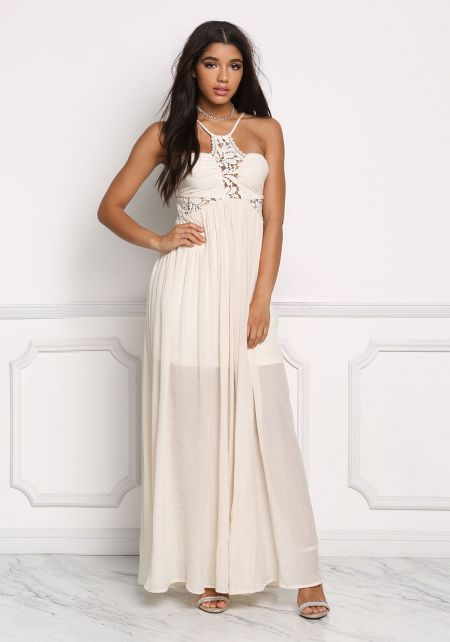 Cream Crepe Crochet Multi Strap Maxi Dress
