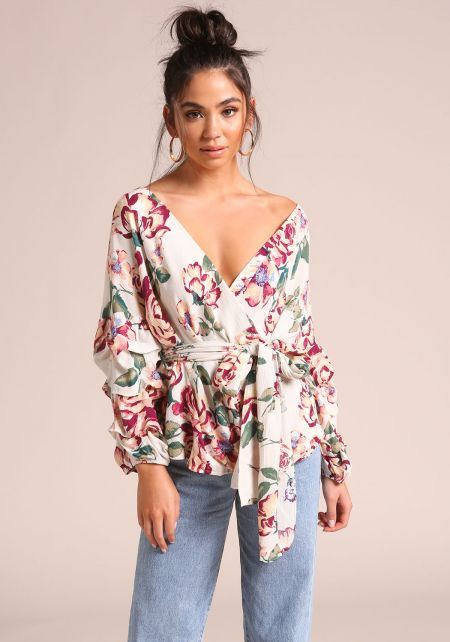Cream Ruched Sleeve Floral Faux Wrap Blouse