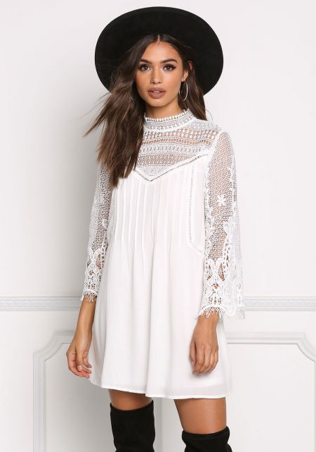 Off White Crochet Embroidered Shift Dress