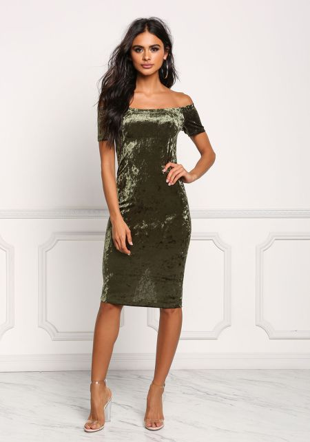 Olive Off Shoulder Crushed Velvet Bodycon Dress