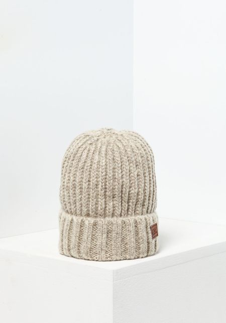 Taupe Thick Ribbed Knit Beanie