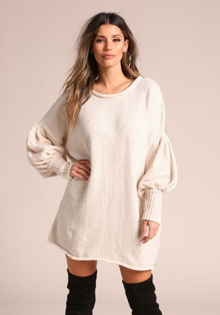 Cream Chunky Knit Puff Sleeve Tunic Sweater