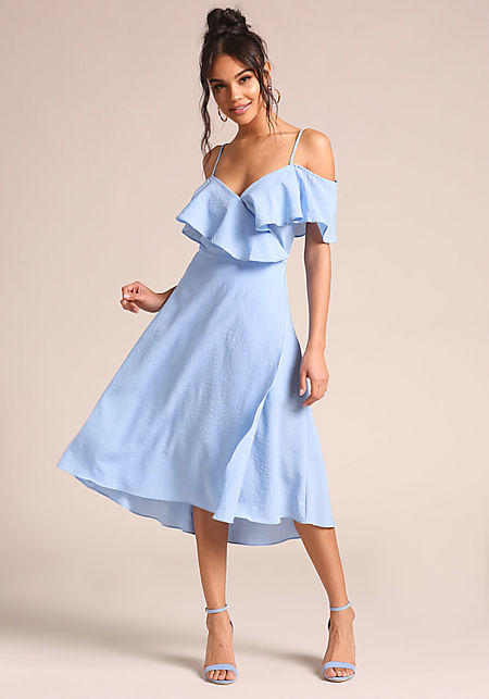 Blue Ruffle Wrap Midi Dress
