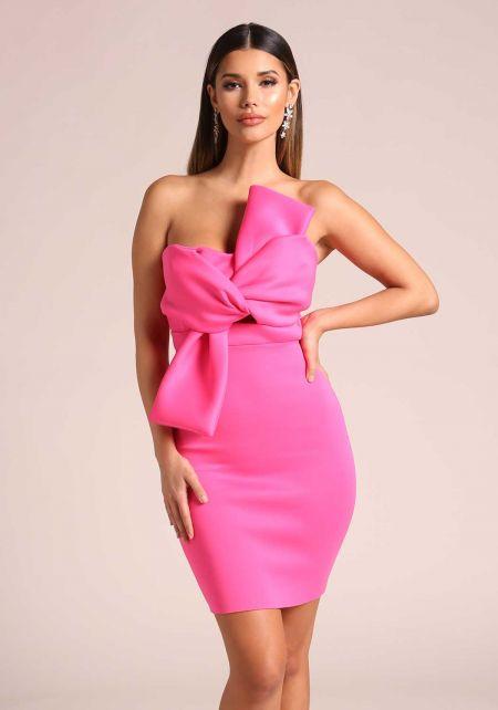 Magenta Bow Scuba Knit Bodycon Dress