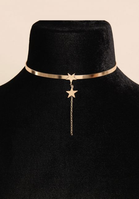 Gold Star Drop Choker