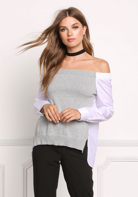 White Two Tone Bardot Blouse