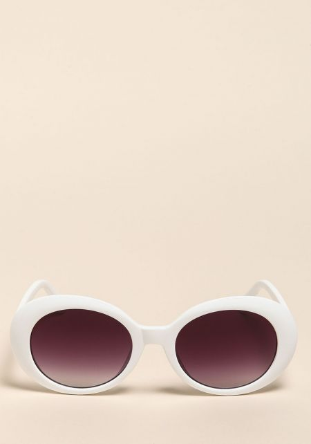 White Oval Thick Frame Sunglasses