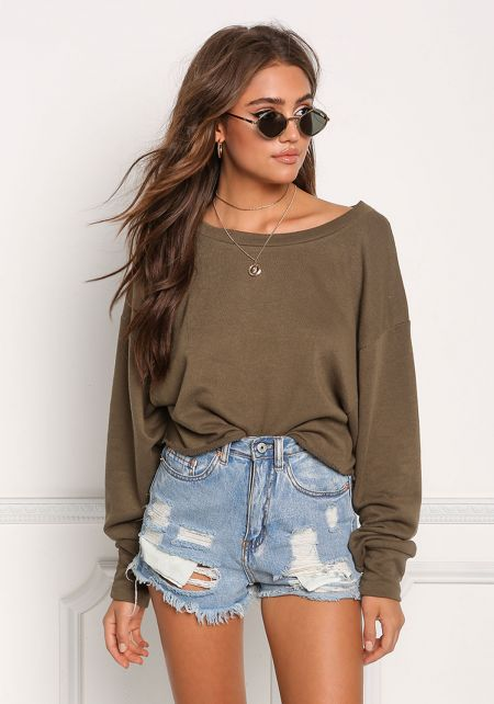 Olive Wide Sleeve Pullover Sweater