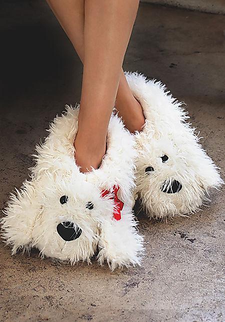 White Shaggy Dog Slippers