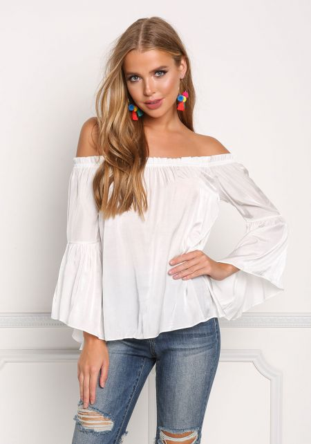 Off White Off Shoulder Bell Sleeve Blouse