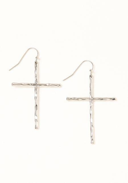 Silver Textured Cross Earrings