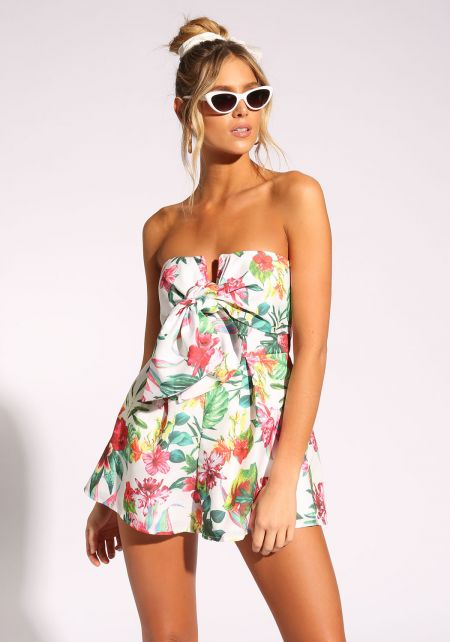 White Floral Strapless Flared Bow Romper