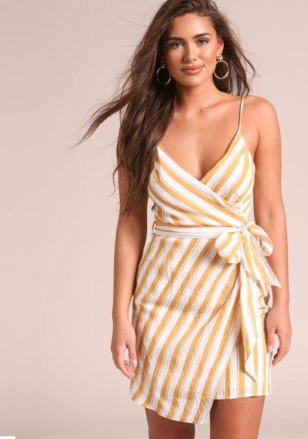 Mustard Stripe Faux Wrap Waist Tie Dress