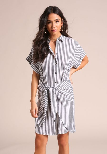 Grey Pinstripe Tie Front Collared Dress