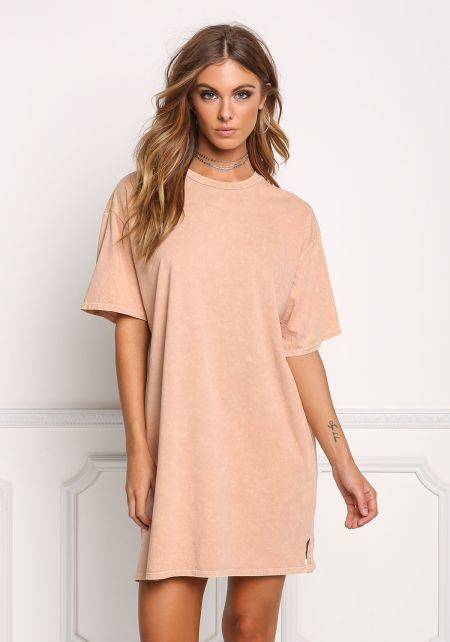 Apricot Light Vintage Wash T-Shirt Dress