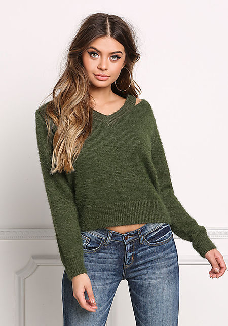 Olive Fuzzy Knit Cold Shoulder Sweater Top