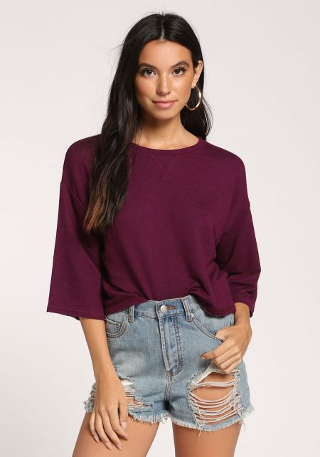 Purple Wide Sleeve Cropped Tee