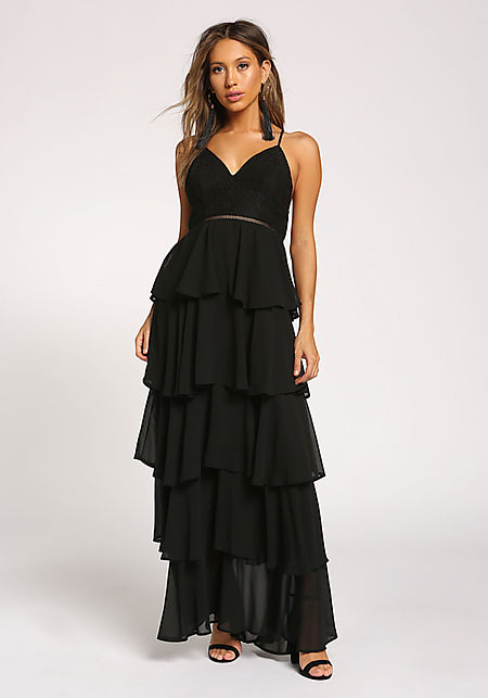 Black Ruffle Tiered Cross Strap Maxi Gown