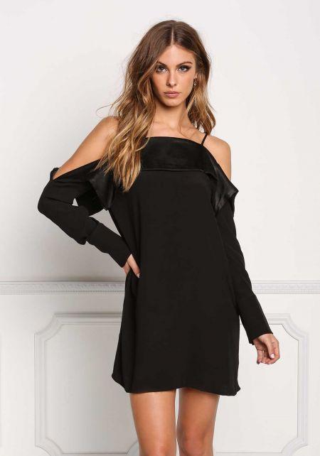 Black Cold Shoulder Layered Shift Dress
