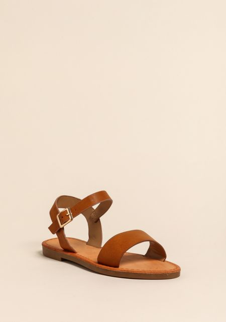 Chestnut Leatherette Strap Sandals