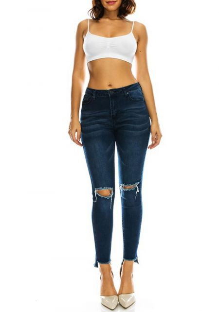 Dark Blue Distressed Knee Slit Skinny Jeans