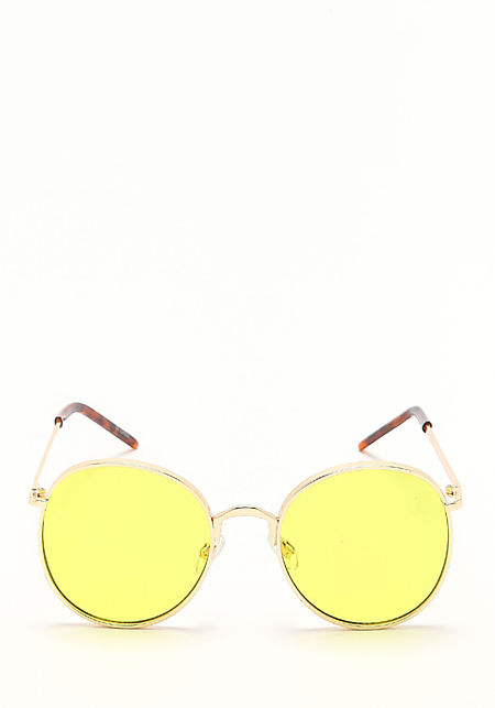 Zero UV Yellow Round Aviator Sunglasses