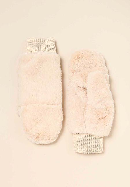 Ivory Faux Fur Slit Mittens