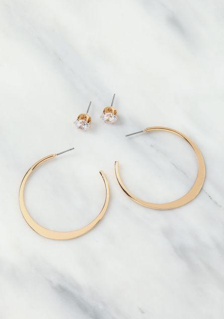 Gold C Hoop & Stud Earrings Set