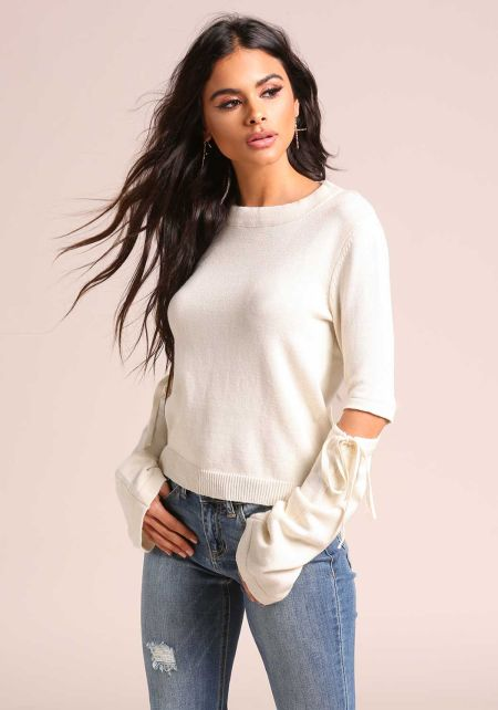Cream Cut Out Soft Knit Sweater Top