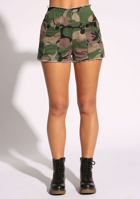 Olive Camo Pocket Front Shorts