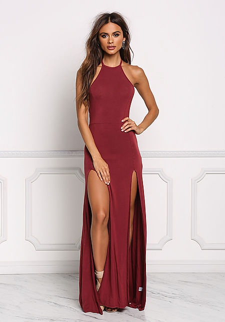 Burgundy Two Slit Halter Maxi Dress