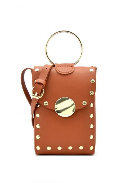 Tan Leatherette Studded Mini Crossbody Bag