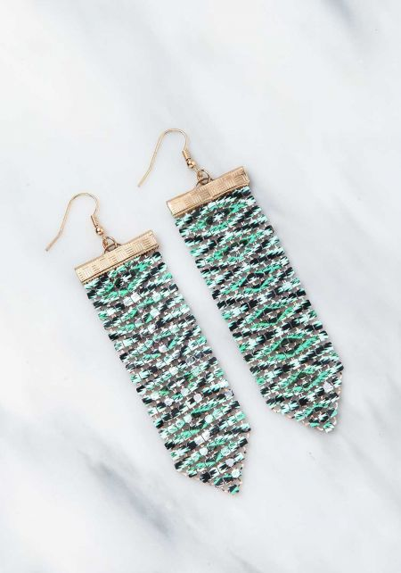 Green Tribal Print Chandelier Iridescent Earrings