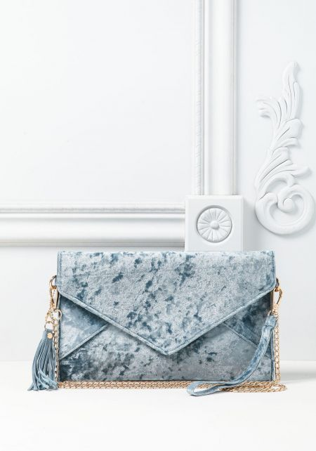Blue Crushed Velvet Envelope Clutch