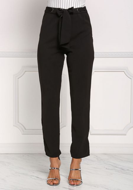Black Grommet High Rise Slacks
