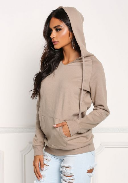 Khaki Pocket Hooded Pullover Sweater