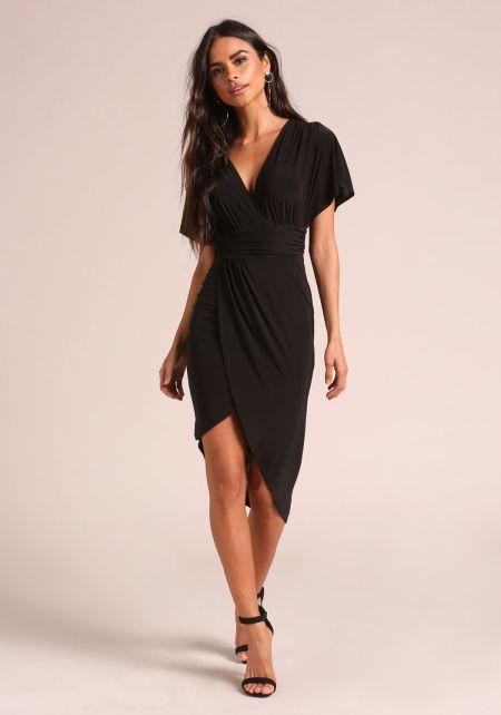 Black Faux Wrap Gathered Bodycon Dress