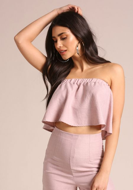 Mauve Linen Strapless Crop Top